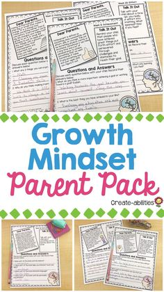 Growth Mindset Parent Pack - This 50 page pack has 50 different print-and-go growth, no prep growth mindset activities that your - Math Resources, Math Activities, Growth Mindset Activities, Parent Night, 5th Grade Classroom, Dear Parents, Character Education, Communication Skills, School Counseling