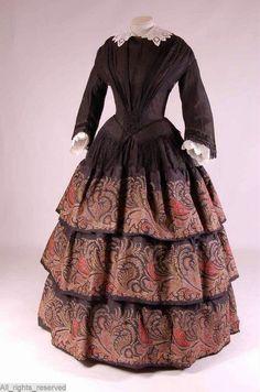 In the Swan's Shadow: Wool Dress, Netherlands, ca. 1850-53 gown located in the Mode Museum Provincie Antwerpen