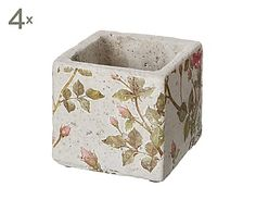 Set de 4 maceteros de cerámica Roses, 8,5 X 8,5 cm
