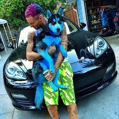 Riff Raff is also apparently on the cutting edge of dog-dyeing technology. | Rapper Riff Raff Maybe Dyed His Dog Blue