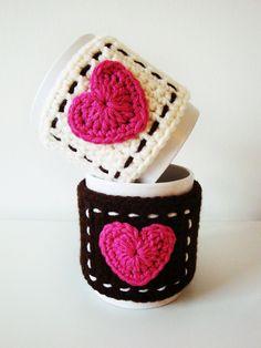 Symbol Crochet PATTERN - PDF format - Mug Cozy with Heart. $4.00, via Etsy.