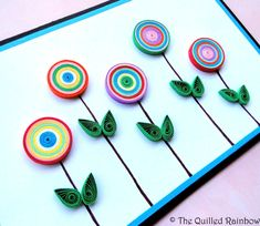 Quilled Button Flowers Handmade Birthday card by TheQuilledRainbow, $9.99