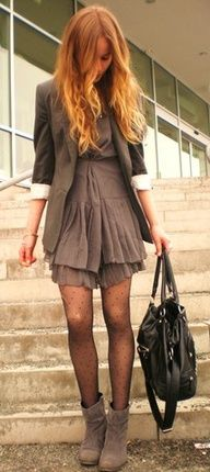 Love these boots and this blazer and those tights!