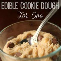 A small batch of Egg-less Cookie Dough big enough for your sweet tooth but small enough you won't feel super guilty for eating the whole thing.