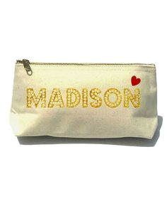 Can make, and stuff withgoodies for gift.   Look at this #zulilyfind! Gold Dot Lettering Heart Bella Personalized Cosmetic Bag by Ciao Bambina #zulilyfinds