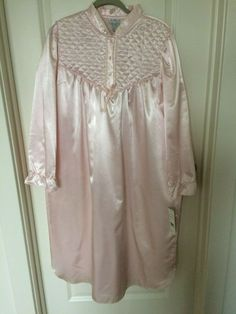71b8874cf86e9 KATHRYN'S Solid Pink Satin Nightgown Quilted Lattice Upper Long Sleeve NWT  XLP #Kathryns #Gowns