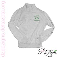 New embroidered Delta Zeta crest quarters zips in stock now at DZ DeZigns!!