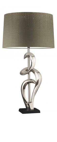 Agata Nickel table lamp features cast aluminium curls presented on a black base. Table Lamp Design, Silver Lamp, Nickel Lamps, Table Lamp, Black Lamps, Silver Table Lamps, Nickel Lighting, White Table Lamp, Luxury Lamps