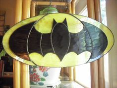 Batman symbol in stained glass