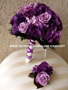 For those who love purple, gorgeous bridal bouquet created with purple and lavender preserved hydrangea and roses. @Gabriela Sosa