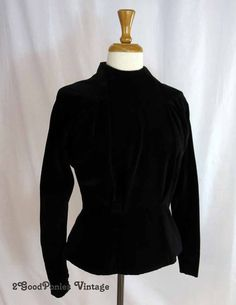 Black Velvet Blouse Victorian Peplum Top by 2goodponiesvintage, $149.00