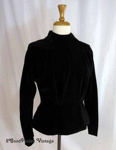 Victorian Black Velvet Blouse, Peplum Top 2GoodPoniesVintage #design #vintagefashion