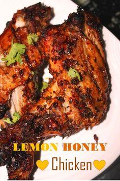 Lemon Honey Chicken Recipe / Baked Lemon Chicken Recipe / Baked Honey Chicken Recipe - Yummy Tummy - New Ideas Chicken Snacks, Roast Chicken Recipes, Veg Recipes, Healthy Chicken Recipes, Indian Food Recipes, Baking Recipes, Honey Lemon Chicken, Asian Chicken, Chicken Legs