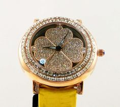 Hearts and Clover Crystal Moves Around Watch with Yellow Leather Band
