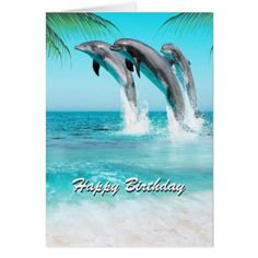 #PLAYFUL DOLPHINS All Occasion or Birthday Card - #birthday #gifts #giftideas #present #party