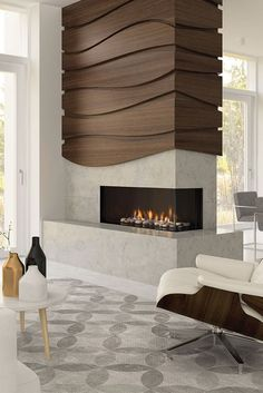modern fireplace ideas Improve and add warmth to your living room by corporate the best fireplace tile ideas below for your home. Fireplace in a room will give the room with char Home Fireplace, Brick Fireplace, Living Room With Fireplace, Living Room Decor, Fireplace Ideas, Gas Fireplaces, Electric Fireplaces, Airstone Fireplace, Modern Fireplaces