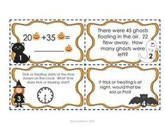 Halloween Math Task Cards - CCSS Aligned, Designed for 2nd grade, 32 task cards in both color and black/white, variety of math topics including story problems, place value and telling time. $