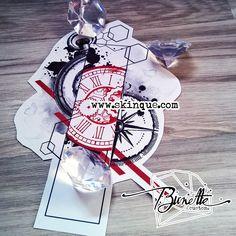 trash polka compass clock geometric tattoo idea illustration