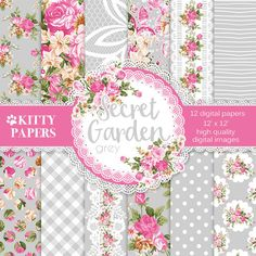 "Shabby digital paper : ""Secret Garden Gray"" gray floral digital paper with roses, dots, tablecloth and lace patterns, pink wedding paper"