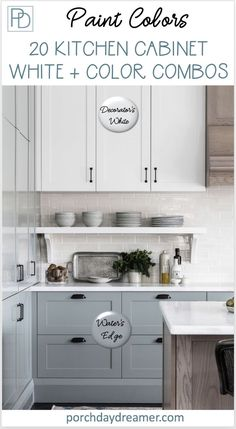 20 Kitchen Cabinet Paint Colors : Two-toned painted cabinets in the kitchen are a hot trend that is here to stay! Here are some timeless paint color combos to consider for your kitchen to break up an all white kitchen. White and colored kitchen cabinets. Kitchen Cabinets Color Combination, Two Tone Kitchen Cabinets, Farmhouse Kitchen Cabinets, Kitchen Cabinet Colors, Kitchen Redo, Gray Cabinets, Kitchen Designs, Rustic Kitchen, Kitchen Backsplash