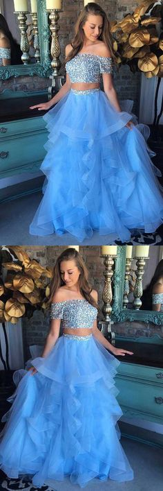 Two Piece Off-the-Shoulder Blue Tiered Tulle Prom Dress  |pinterest: @BossUpRoyally [Flo Angel]