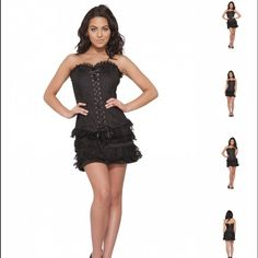 SMALL Corset Dress Black Sexy Party Lace Ribbons Brand new corset dress!  1 color available - Small / Medium / Large. Discounts available with bundle only. 🚫NO TRADES🚫 I ship fast! 🎀 Hearts & Roses Dresses Mini