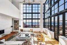 Inside Tamarkin Co.'s 550 West Street luxury condo building. A pair of Spanish Chairs designed by Børge Mogensen in 1958 adorn this stunning space. Luxury Penthouse, Luxury Condo, Luxury Homes, Modern Condo, Modern Decor, Architectural Digest, Casa Loft, Hudson Yards, Danish Furniture