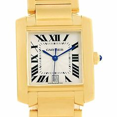 Price:       (adsbygoogle = window.adsbygoogle || []).push();  Cartier Tank Francaise Large 18K Yellow Gold Automatic Watch W50001R2. Automatic self-winding movement. Rectangular 28.0 x 32.0 mm case. Octagonal 18K yellow gold crown set with a blue sapphire cabochon. Scratch resistant...