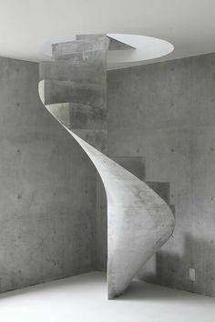 These days, a concrete staircase is really famous for a modern house. The design of staircase with its concrete material is simple and easy to make. It is another option for you who want to design you Concrete Staircase, Concrete Architecture, Staircase Design, Contemporary Architecture, Architecture Details, Interior Architecture, Spiral Stairs Design, Staircase Ideas, Concrete Board