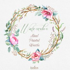 Watercolour Flower wreaths with Floral elements and Feathers. Boho style, Stag…