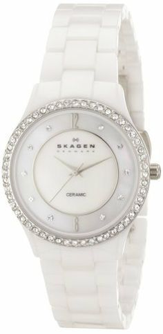 Skagen Women's SK347SSXWC Ceramic White Mother-Of-Pearl Dial Watch Skagen. $143.07. Case diameter: 30 mm. Ceramic case. Quartz movement. Durable mineral crystal protects watch from scratches. Water-resistant to 99 feet (30 M)