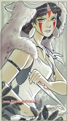 Princess Mononoke for Bear and Bird Gallery show by KelleeArt.deviantart.com on @DeviantArt: