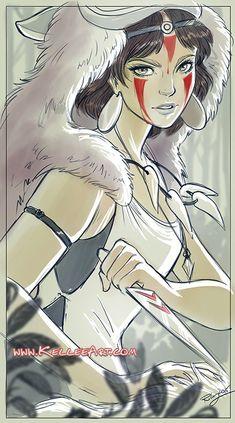 Princess Mononoke for Bear and Bird Gallery show by KelleeArt.deviantart.com on @DeviantArt: