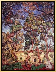 Trees in the Garden of Saint-Paul Hospital by Vincent van  Gogh. Brushstroked Canvas from Art.com, $199.99