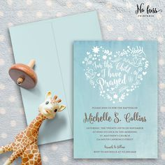 Baby Blue Heart Flora Baptism Invitation  by NoFussPrintable