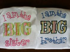 Big Sister  Little Brother or Big Brother Little Sister Siblings Applique and Embroidered Shirt on Etsy, $34.00