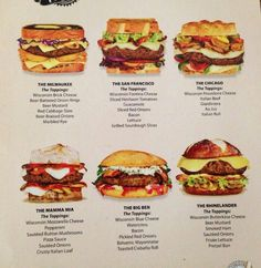Pick your burger! Burger Menu, Gourmet Burgers, Burger Recipes, Burger Dogs, My Burger, I Love Food, Good Food, Yummy Food, Grana Extra