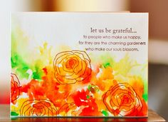 handmade card ... watercolor splashed on in yellow, orange, red and chartreuse ... over-stamped in brown  with line-art roses ... bright colors ... happy feel ... inspired by Boquet Builder ... Sanketi says she completed the card in less than ten minutes by drying with heat gun ... gorgeous!!