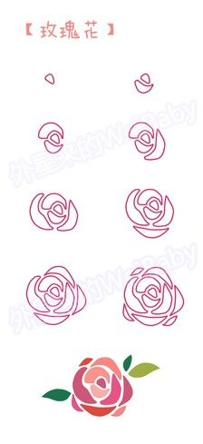 How to draw a rose Fabric Painting, Watercolour Painting, Watercolor Flowers, Painting & Drawing, Watercolours, Doodle Art, Rose Doodle, Zen Doodle, Easy Drawings