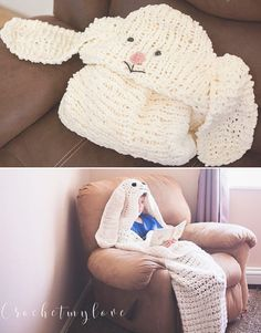 Free Knitting or Crochet Pattern for Hooded Bunny Blanket – Cozy afghan with hood in super bulky yarn from Crochetmylove for Melody's Makings. Two sizes: Child and Adult.