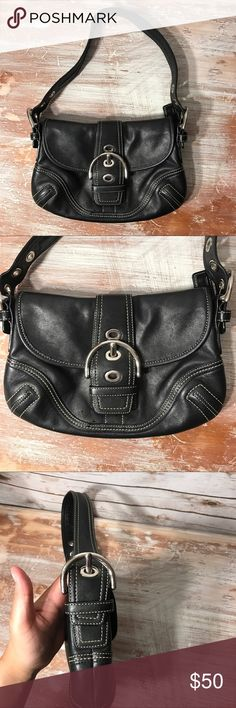 Black leather coach hand bag Black leather coach bag in excellent condition. No stains. Coach Bags Shoulder Bags
