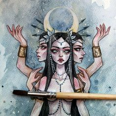 Ideas Black Art Goddesses Witches For 2019 Art And Illustration, Witch Drawing, Painting & Drawing, Dark Fantasy Art, Desenhos Tim Burton, Arte Inspo, Goddess Art, Hecate Goddess, Witch Art