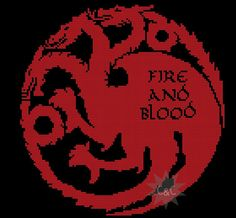 Game of Thrones Targaryen House sigil counted cross stitch printable PDF pattern