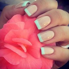This cute looking and elegant French manicure starts off with a cream colored base and tipped with white polish. Very classy, simple and adorable looking French tip.