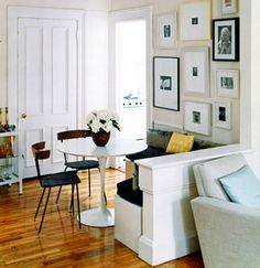 Good idea: Add a half wall to create a cozy eating nook with bench seating.