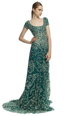 Marchesa Fully Embroidered Cap Sleeve Gown