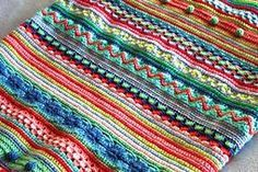 Free pattern; crochet; Ravelry: Mixed Stitch Stripey Blanket pattern by Julie Harrison