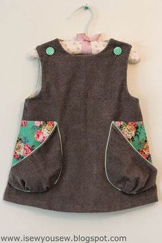 I Sew, You Sew: Retro Reproduction Dress: Corduroy & Pockets - link to free pattern. LOVE THIS!