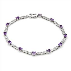 $259.00  Terrific Brand New Bracelet With 2.30ctw Precious Stones - Genuine Amethysts and  Diamonds  White Gold. Total item weight 5.2g  Length 7in - Certificate Available.