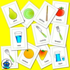 Cutlery and food flashcards in Spanish - knife, fork, spoon, chopsticks